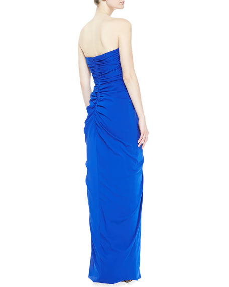 Strapless Ruffle-Top Gown, Sapphire