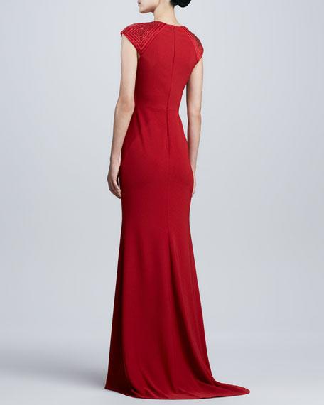 Beaded-Cap-Sleeve Gown