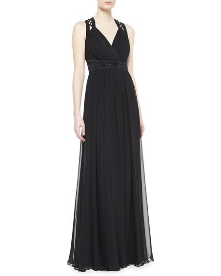 Sleeveless V-Neck Lace Up Gown, Black
