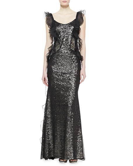Ruffled Beaded Gown, Black/Gold