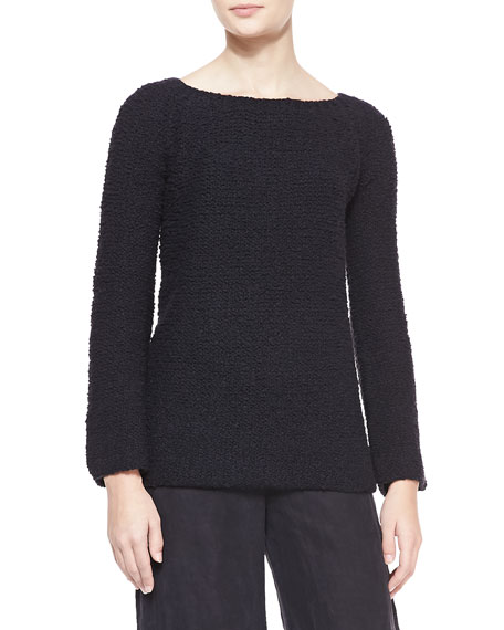 Wool/Cashmere Boucle Sweater, Black