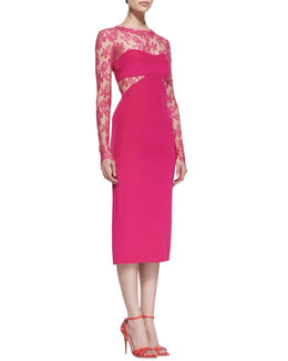 Monique Lhuillier Long Sleeve Lace Cutout Cocktail Dress, Orchid