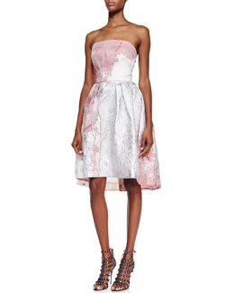 Monique Lhuillier Strapless Floral Cocktail Dress, Ivory/Pink