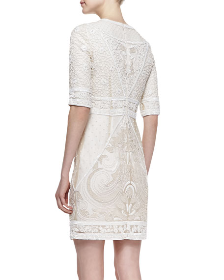 Embroidered Lace Cocktail Dress