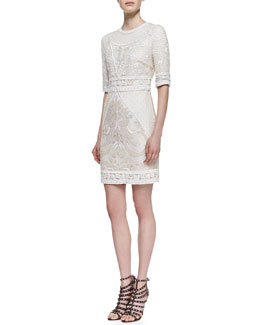 Monique Lhuillier Embroidered Lace Cocktail Dress