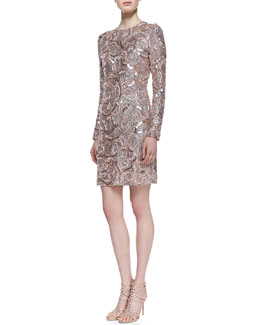 Monique Lhuillier Embroidered Sequin Long-Sleeve Cocktail Dress