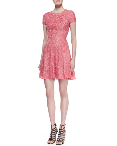 Monique Lhuillier Embroidered Silk Cocktail Dress