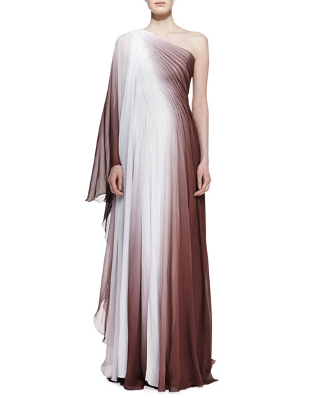 One-Shoulder Ombre Gown, Chocolate/White