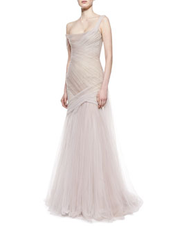 Monique Lhuillier Asymmetric Draped Gown, Blush