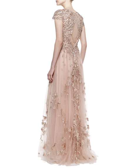 Cap Sleeve Embroidered Tulle Gown, Cherry Blossom