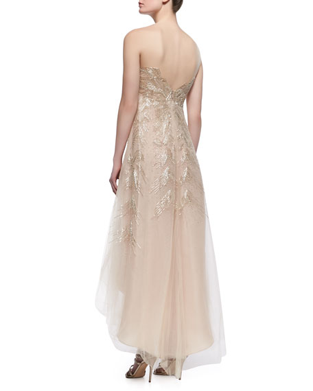 High-Low Embroidered Illusion Tulle Gown