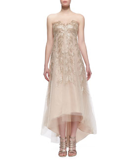 Monique Lhuillier High-Low Embroidered Illusion Tulle Gown