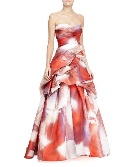 Strapless Silk Tufted Ball Gown, Multicolor