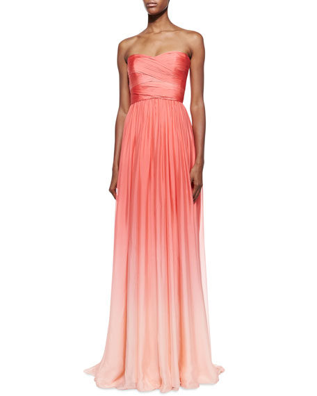 Strapless Ombre Draped Gown, Coral
