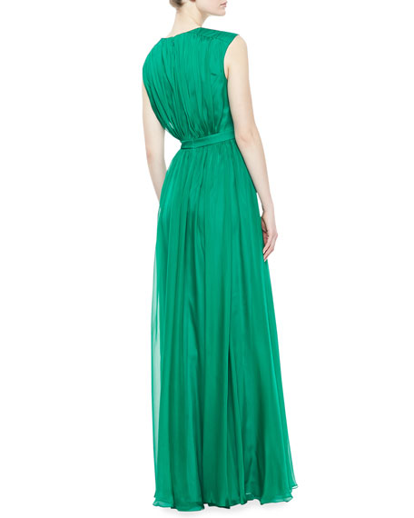 V-Neck Draped Gown, Emerald