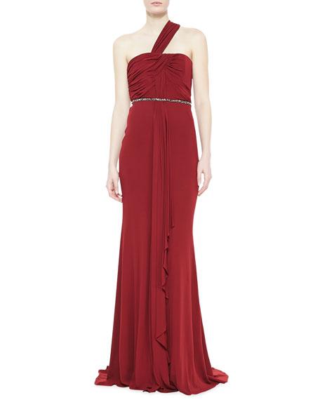 Badgley Mischka One-Shoulder Draped Gown, Garnet