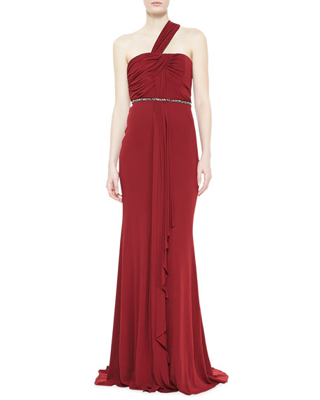 One-Shoulder Draped  Gown, Garnet