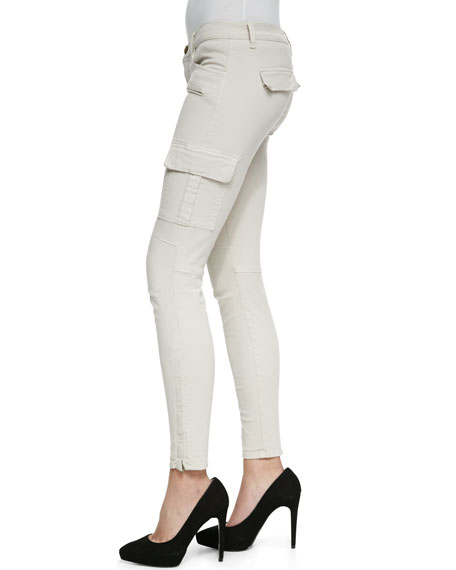 Grayson Skinny Luxe Twill Cargo Pants, Chalk