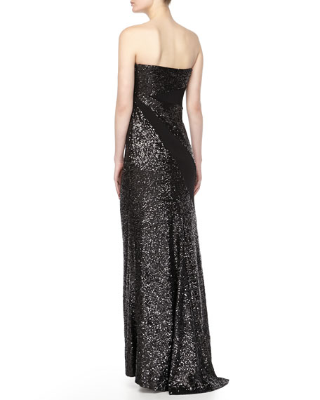 Strapless Sequined Gown, Black
