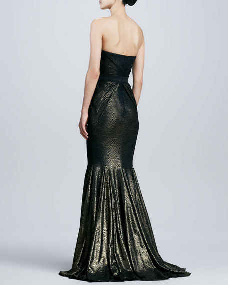 Strapless Brocade Mermaid Gown