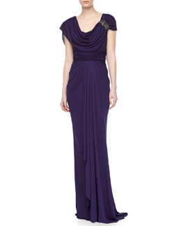 Badgley Mischka Jersey Draped Gown with Applique