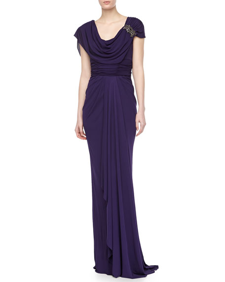 Jersey Draped Gown with Applique