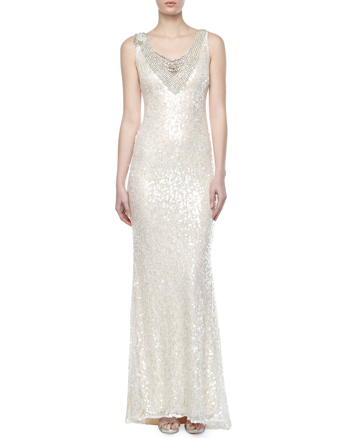 Kay Unger New York Lace and Sequined Double V Neck Gown