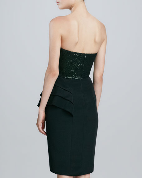 Sequin-Bodice Strapless Dress