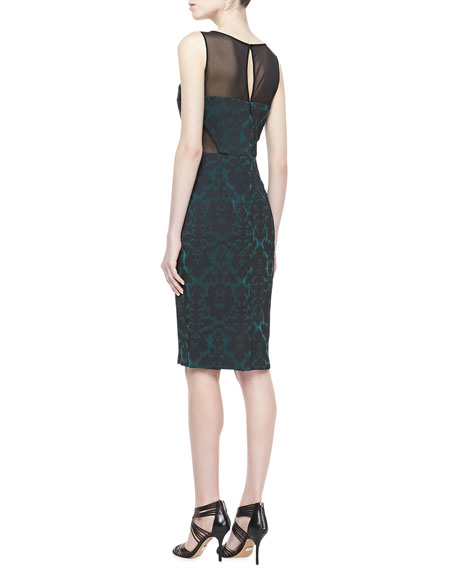 Cutout Jacquard Cocktail Dress, Emerald/Black