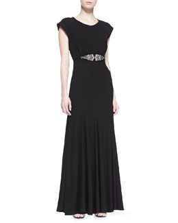 ZAC Zac Posen Open-Back Gown with Beaded Belt, Black