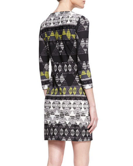 Calico Printed Ponte Dress, Petite