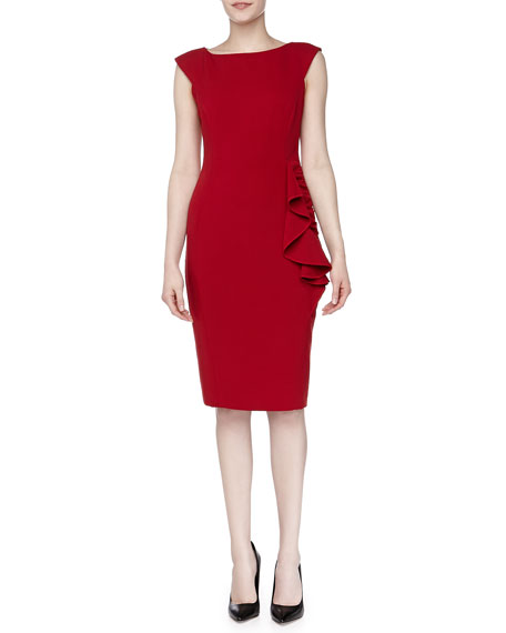 Ruched Ruffle Day Dress, Scarlet