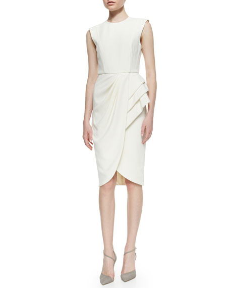 Sleeveless Wrap-Skirt Cocktail Dress, Ivory