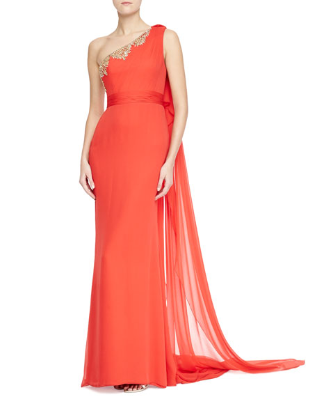 One-Shoulder Beaded-Top Gown, Poppy