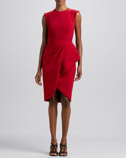 Badgley Mischka Sleeveless Wrap-Skirt Cocktail Dress