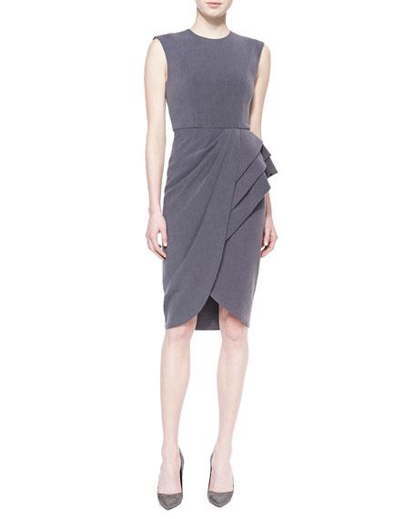 Sleeveless Wrap-Skirt Cocktail Dress, Quartz