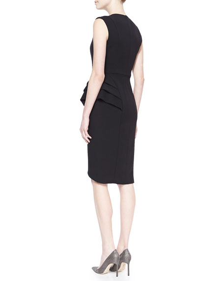 Sleeveless Wrap-Skirt Cocktail Dress, Black