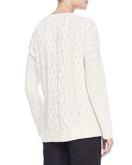Cashmere Cable-Knit Sweater, Vellum