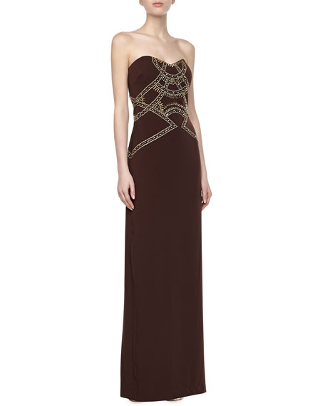 Strapless Beaded-Bodice Gown