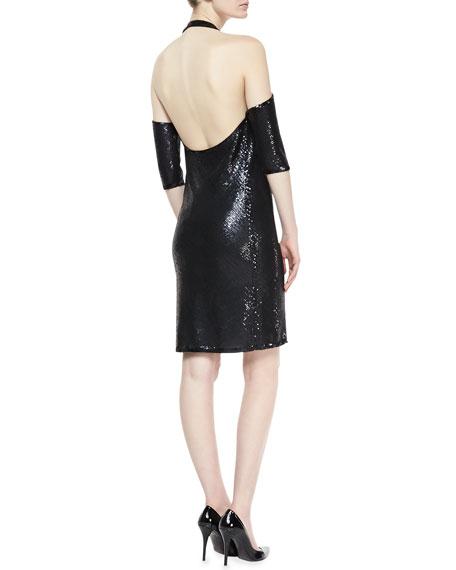 Sequined Cold-Shoulder Halter Tunic Dress