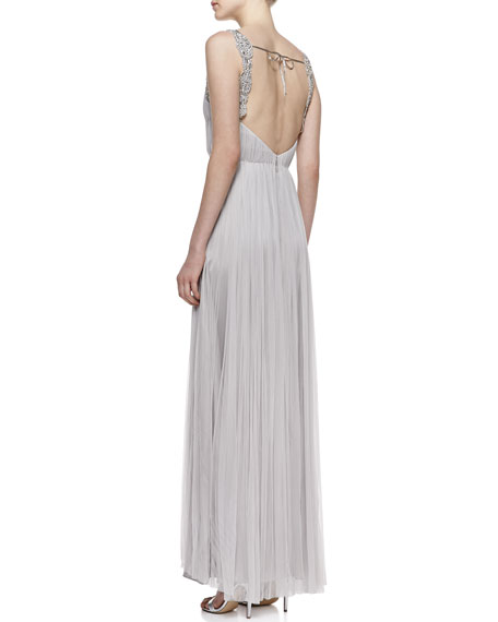 Beaded Silk Sleeveless Gown