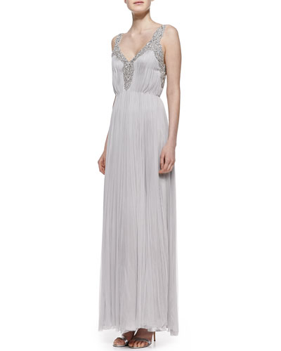 Catherine Deane Beaded Silk Sleeveless Gown