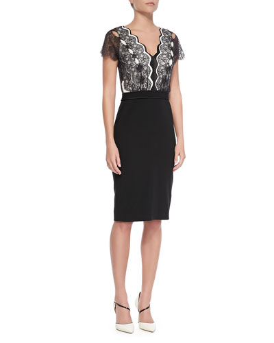 Catherine Deane Short-Sleeve Lace-Bodice Cocktail Dress, Black/Cream