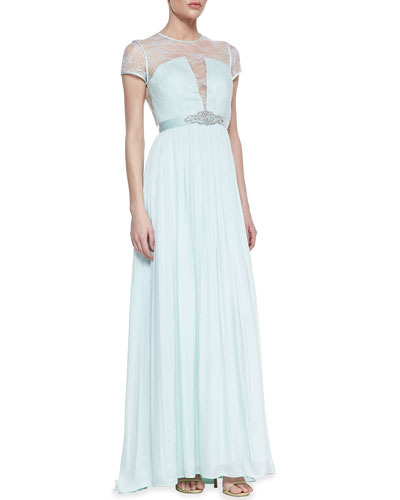 Catherine Deane Short Sleeve Lace Bodice Gown, Whisper Green