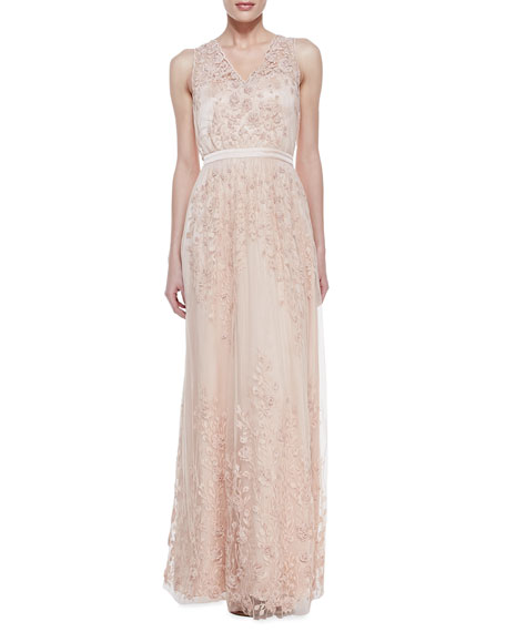 Sleeveless Embroidered Applique Gown, Ballet Pink