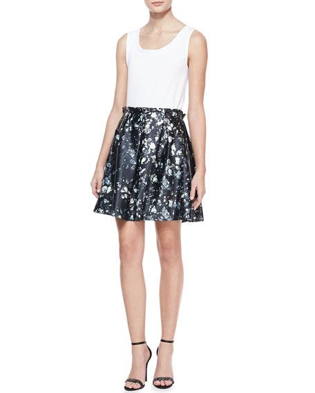 Mineral-Print A-line Skirt