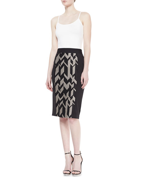 Geo-Print Crepe/Ponte Skirt