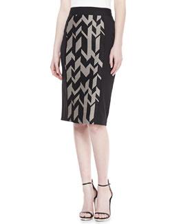 Badgley Mischka Geo-Print Crepe/Ponte Skirt