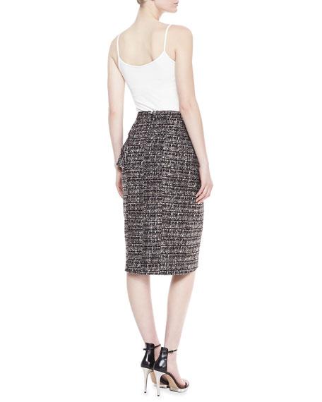 Tweed Peplum Skirt, Smoke