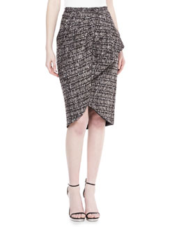 Badgley Mischka Tweed Peplum Skirt, Smoke